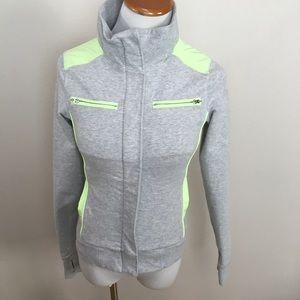 Ivivva By Lululemon Gray Neon Green Jacket Sz 12